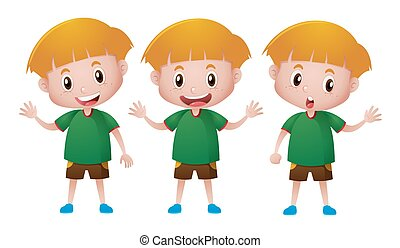 Little boy in green shirt with happy face illustration