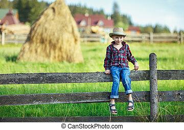 Little boy in hat sitting on fence