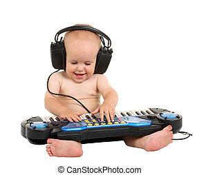 Little boy in headphones
