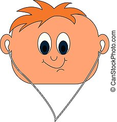 Little boy in headphones vector or color illustration