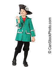 little boy in historical dress hand gesture standing on white