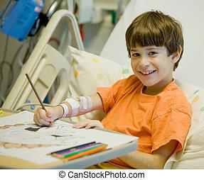 Little Boy in Hospital Feeling Much Better