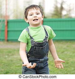 Little boy in motion