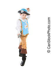 Little boy in musketeer costume