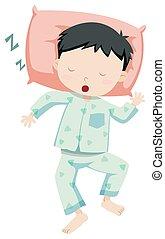 Little boy in pajamas sleeping