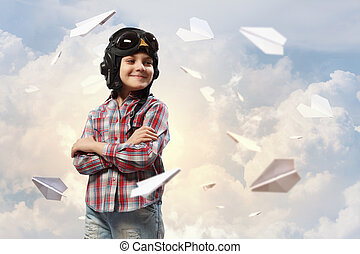Little boy in pilot's hat - Image of little boy in pilots...