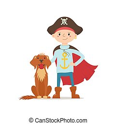 Little boy in pirate hat standing with dog