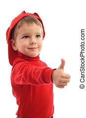 Little boy in red hat with thumb up sign, isolated on white