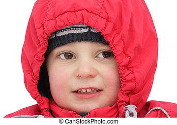 Little boy in red hood