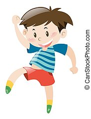 Little boy in red shorts dancing
