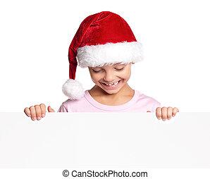 Little boy in Santa hat