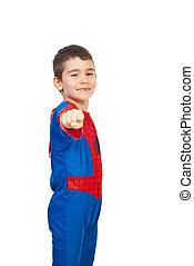 Little boy in spider costume