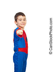 Little boy in spider costume - Little boy dressed in spider...