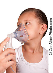 boy in the mask of the inhaler