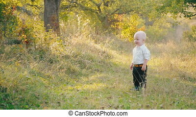 little boy in the nature - little boy walks on a dirt road