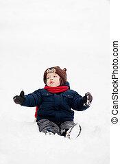 Little boy in the winter