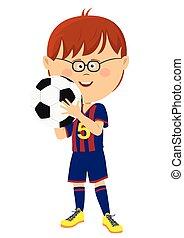 Little boy in uniform holding soccer ball isolated