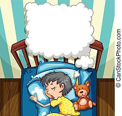 Little boy in yellow pajamas sleeping
