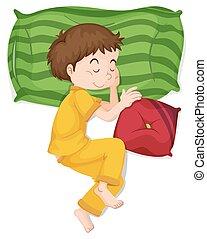 Little boy in yellow pj sleeping