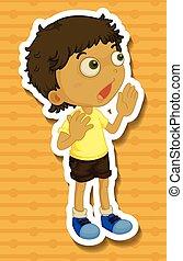 Little boy in yellow shirt shouting
