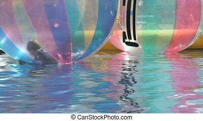 Little boy inside a big inflatable ball in water