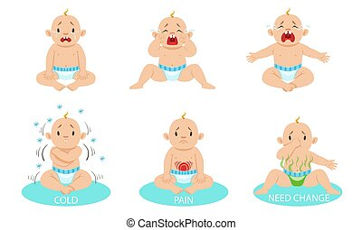 Little boy cries, froze, stomach ache, in a dirty diaper. Vector illustration.