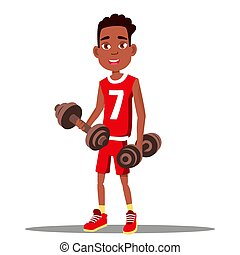 Little Boy Is Exercising With A Dumbbell In His Hands Vector. Sport. Healthy. Isolated Illustration