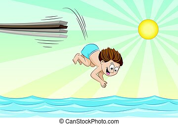 Little boy is jumping from a jumpboard into the water