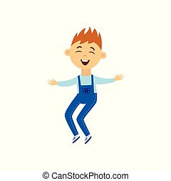 Little boy jumping in air with happy smile - isolated cartoon character