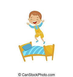 Little boy jumping on a bed, hoodlum cheerful kid, bad child behavior vector Illustration on a white background