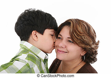 little boy kiss his mother on a white background
