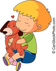 Little boy kissing pet dog