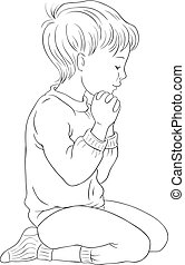 Little Boy Kneeling Down in Prayer with her Hands Folded Coloring Page