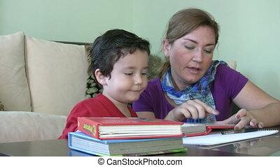 Little boy learning