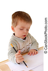 Little boy learning to write