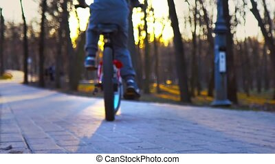 Little boy learns to ride a bicycle in the park, sundown park, slow motion