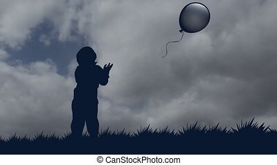little boy lets the balloon go to the sky. stationary...