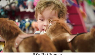 Little boy looking at the toy horses in the shop