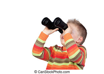 Little boy looking through binoculars