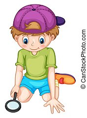 Little boy looking through magnifying glass illustration