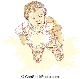 Little boy looking up and smiling. Vector illustration