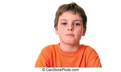 Little boy looks and smile isolated