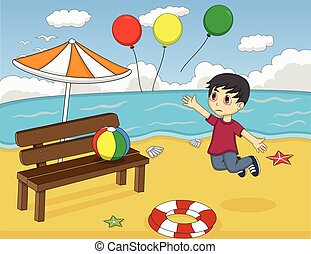 Little boy lost balloons at beach