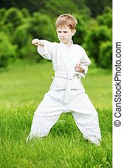 Little boy make karate exercises