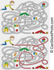 Little Boy Maze - Little boy maze for kids with a solution