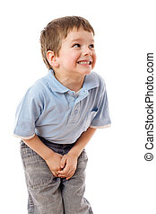 Little boy need a pee, isolated on white