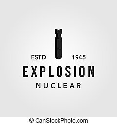 little boy nuclear bomb logo vector icon illustration