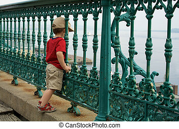 Little boy on a fence