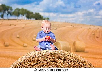 Little boy on a hay bale