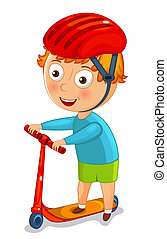 Little boy on a scooter in a helmet vector illustration